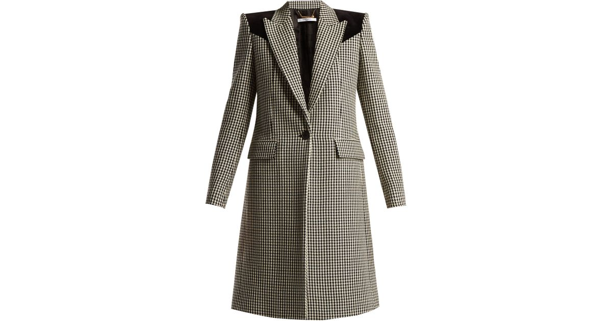 cce64ffe9995 Givenchy Panelled Houndstooth Wool Coat in Black - Lyst