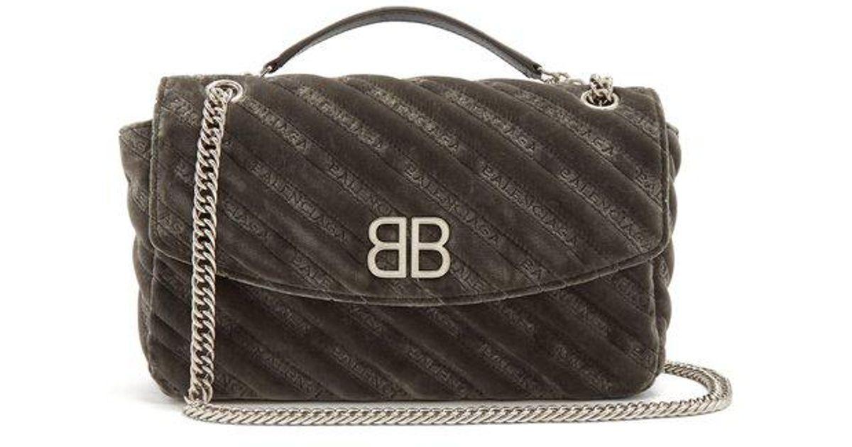 dce63499268ab1 Balenciaga Bb Round M Velvet in Gray - Lyst