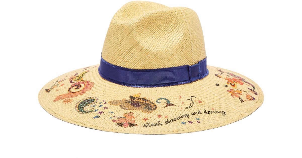45994e05 Etro Grosgrain-trimmed Floral-print Straw Hat in Natural - Lyst
