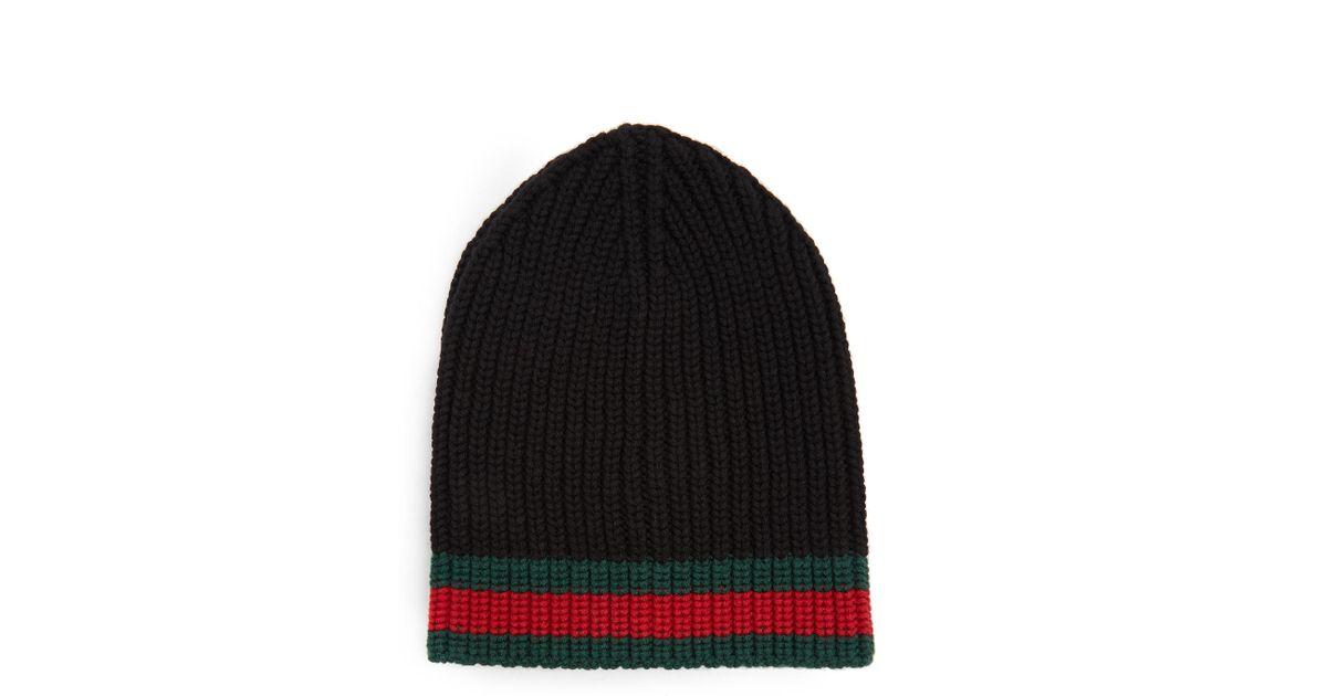 324cd4b139e Gucci Black Wool Beanie in Black for Men - Lyst