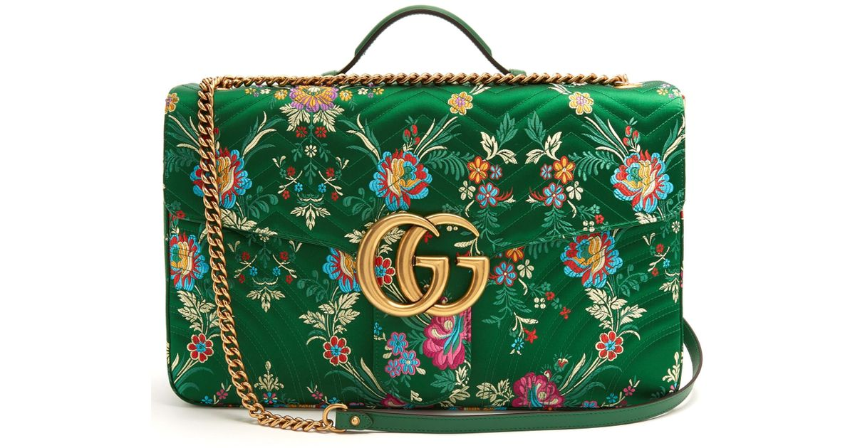 20cd88c40cd412 Gucci Gg Marmont Maxi Floral-jacquard Shoulder Bag in Green - Lyst