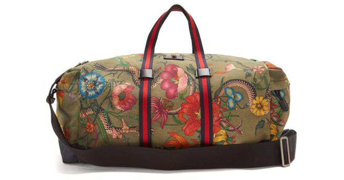 Lyst - Gucci Floral-print Web-striped Duffle Bag for Men 0286153c16840