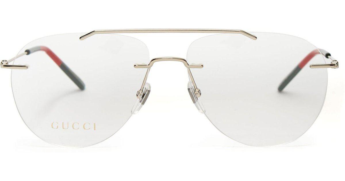 5d0c3a8b4d95 Gucci Rimless Aviator Glasses in Metallic - Lyst