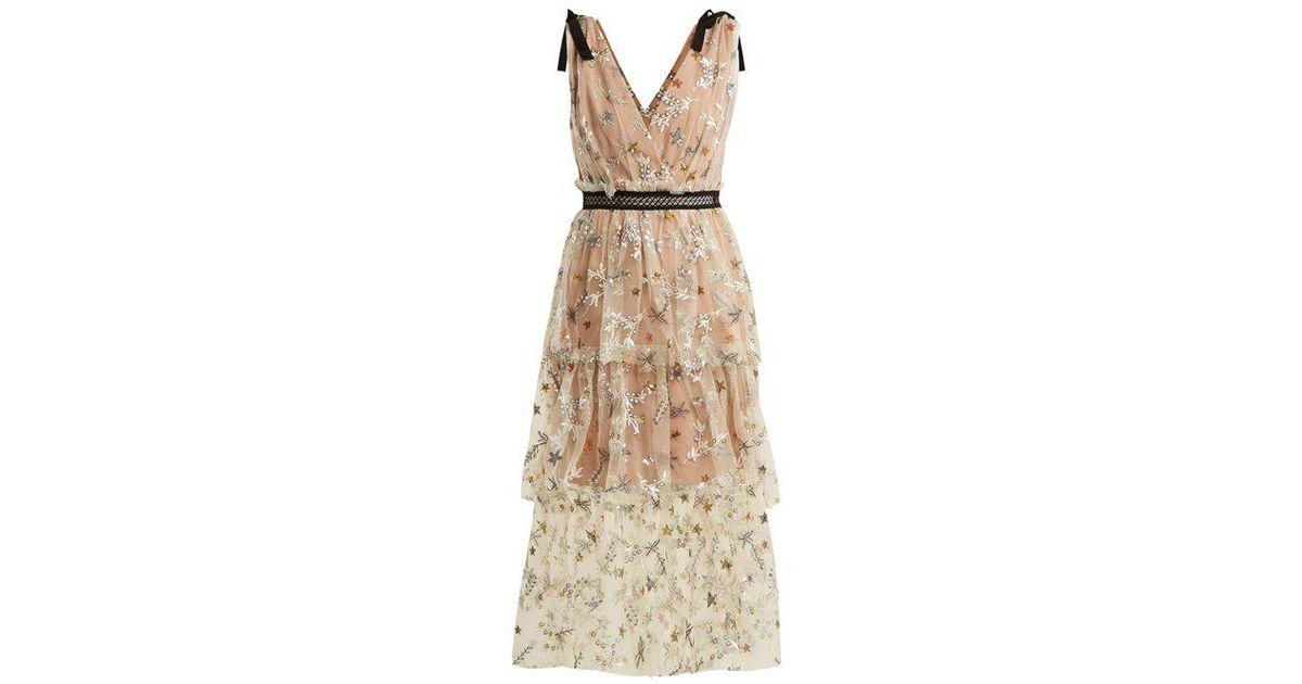 772119ee5388 Self-Portrait Star Mesh Midi-dress in Natural - Lyst