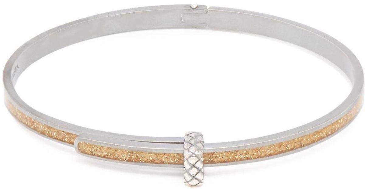 Intrecciato-embossed silver bracelet Bottega Veneta BqWFS0d8g