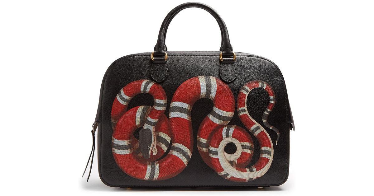 Gucci Black Snake Print Leather Duffle for men