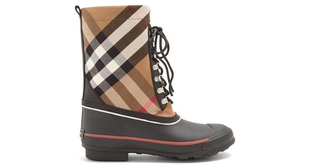 787250f4cef3 Lyst - Burberry House-check Rain Boots in Black