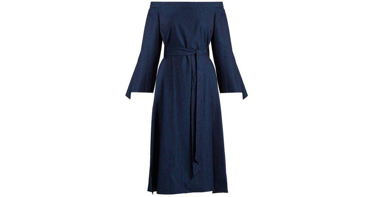 602b354c0d Lyst - Tibi Off-the-shoulder Tie-cuff Denim Dress in Blue