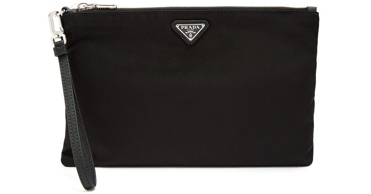 157a236757e4 Prada Logo Plaque Medium Nylon Pouch in Black for Men - Lyst