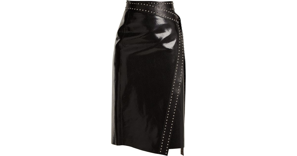 8d27458511 Alexander McQueen Python Effect Leather Wrap Skirt in Black - Lyst