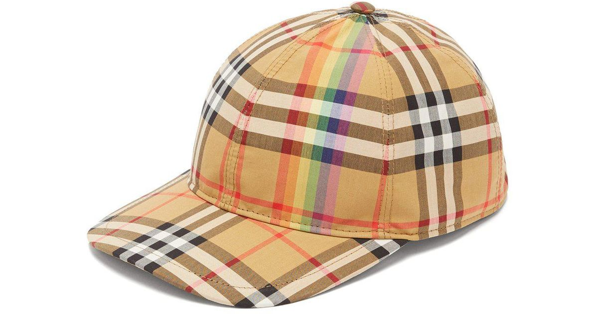 Lyst - Burberry Rainbow-panelled Vintage Check Cotton-canvas Cap in Natural  for Men ed9311d34d