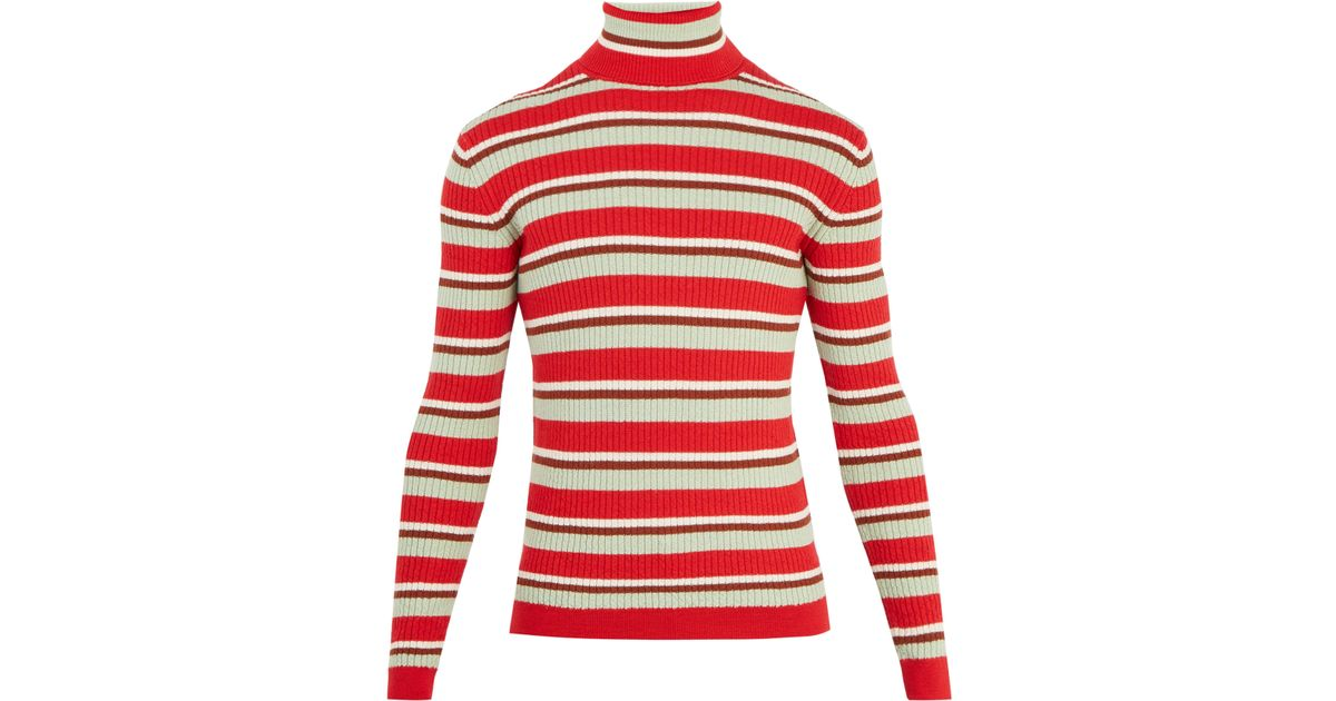 d03cf17e1 Gucci Striped Roll-neck Ribbed-knit Wool Sweater in Red for Men - Lyst