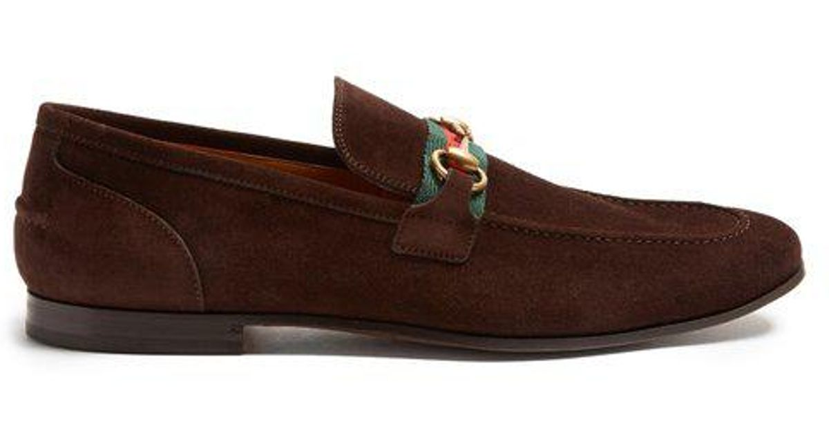 704d4bda87e Lyst - Gucci Elanor Suede Loafers in Brown for Men