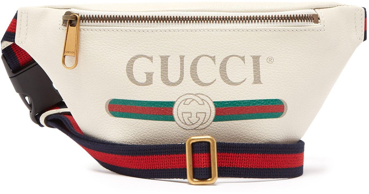 4d593bbaa75e Gucci Small Logo Print Leather Belt Bag in White for Men - Lyst