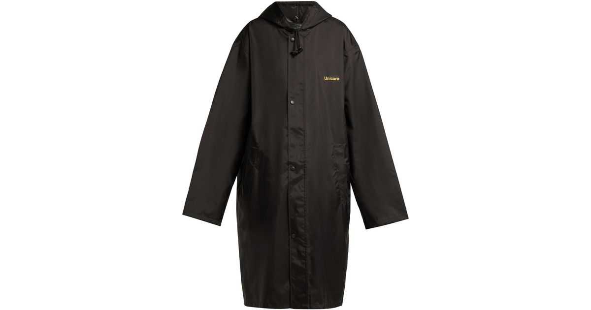 Lyst Vetements Unicorn Hooded Raincoat In Black