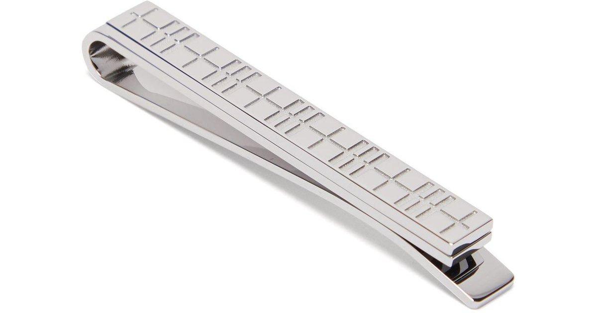 736a264ba528 Burberry Check Tie Bar in Metallic for Men - Lyst
