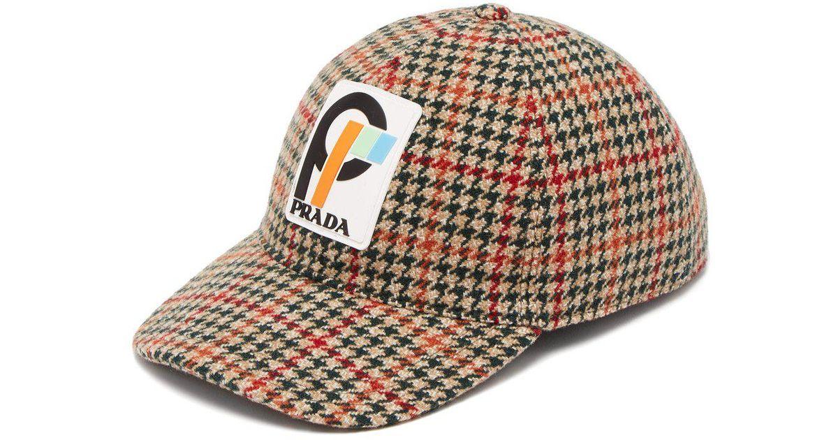 40802ff1ac1 Lyst - Prada Houndstooth Wool Tweed Cap in Green