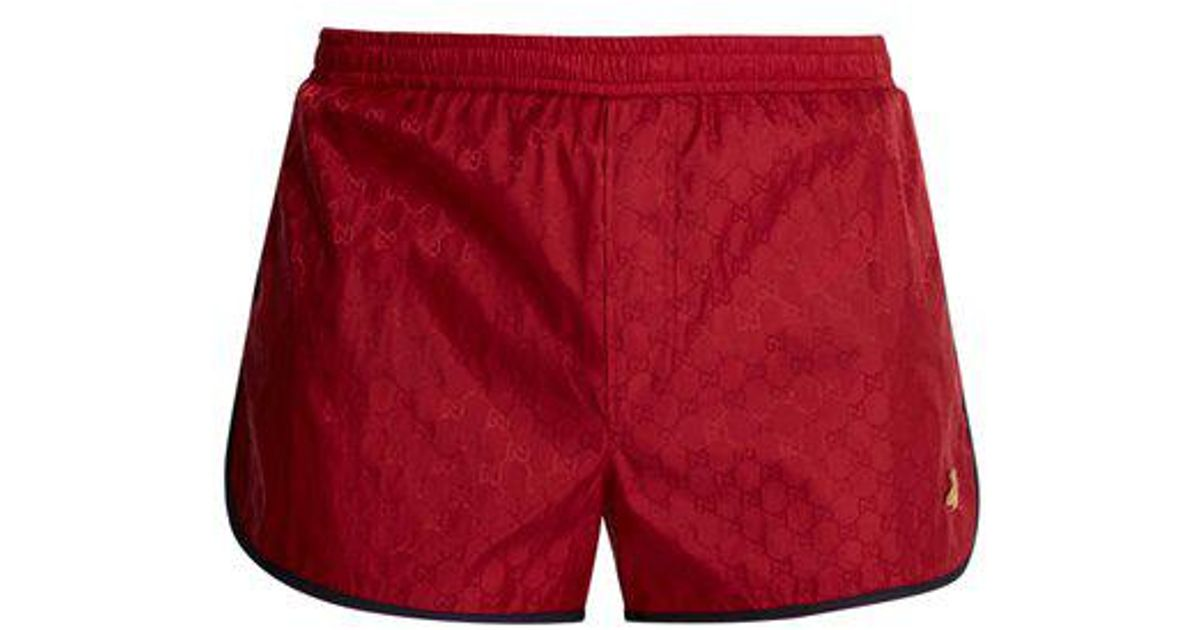 17f39278 Gucci - Red Gg-jacquard Swim Shorts for Men - Lyst