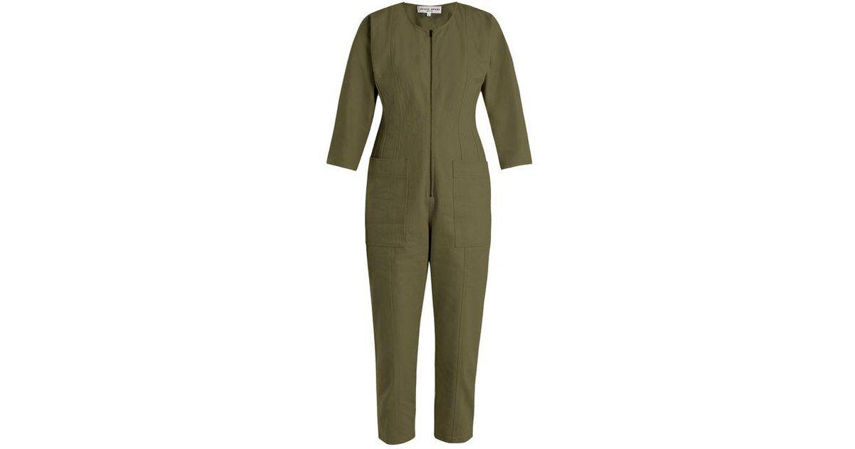 80441458985 Apiece Apart - Green Flame Thrower Straight-leg Denim Jumpsuit - Lyst