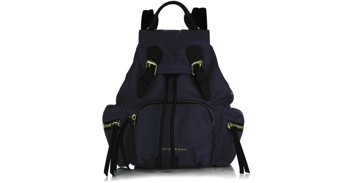 ba45f83da496 Burberry Medium Nylon And Leather Backpack in Blue - Lyst