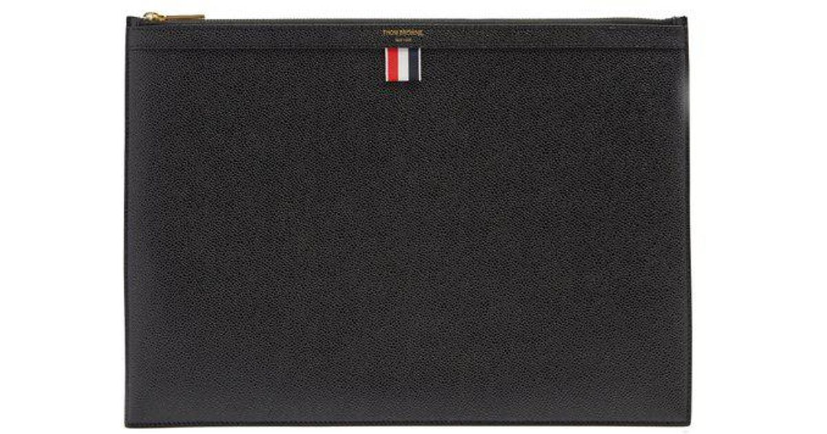 85565c707c Lyst - Thom Browne Large Pebbled-leather Document Holder in Black for Men