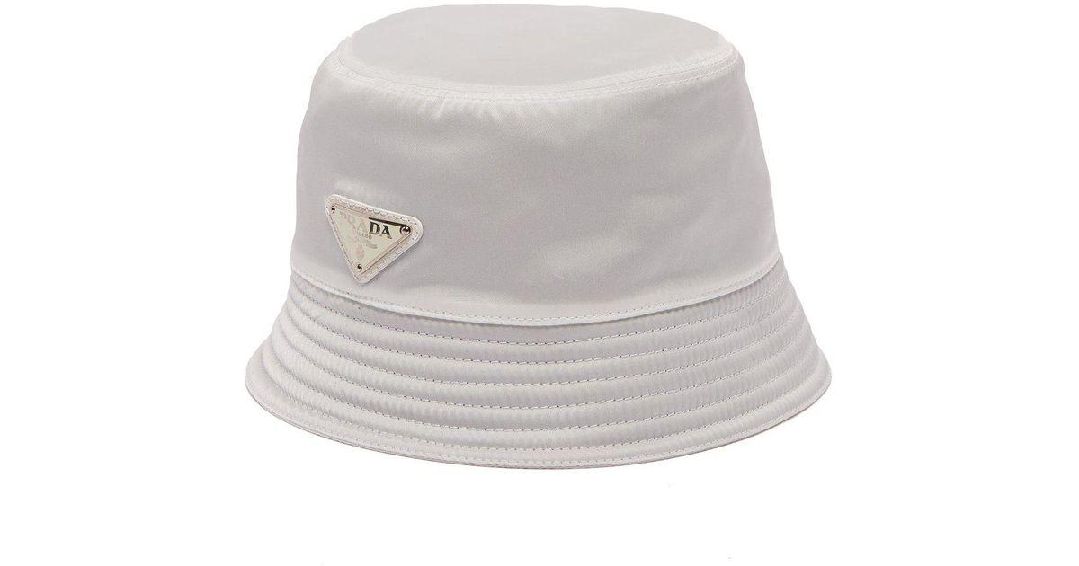 cde373867f53b Prada Logo Bucket Hat in White for Men - Lyst
