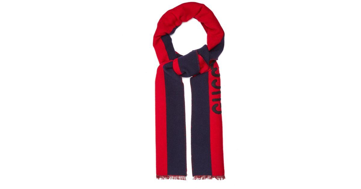 Striped Intarsia Wool And Silk-blend Scarf Gucci bXql6x