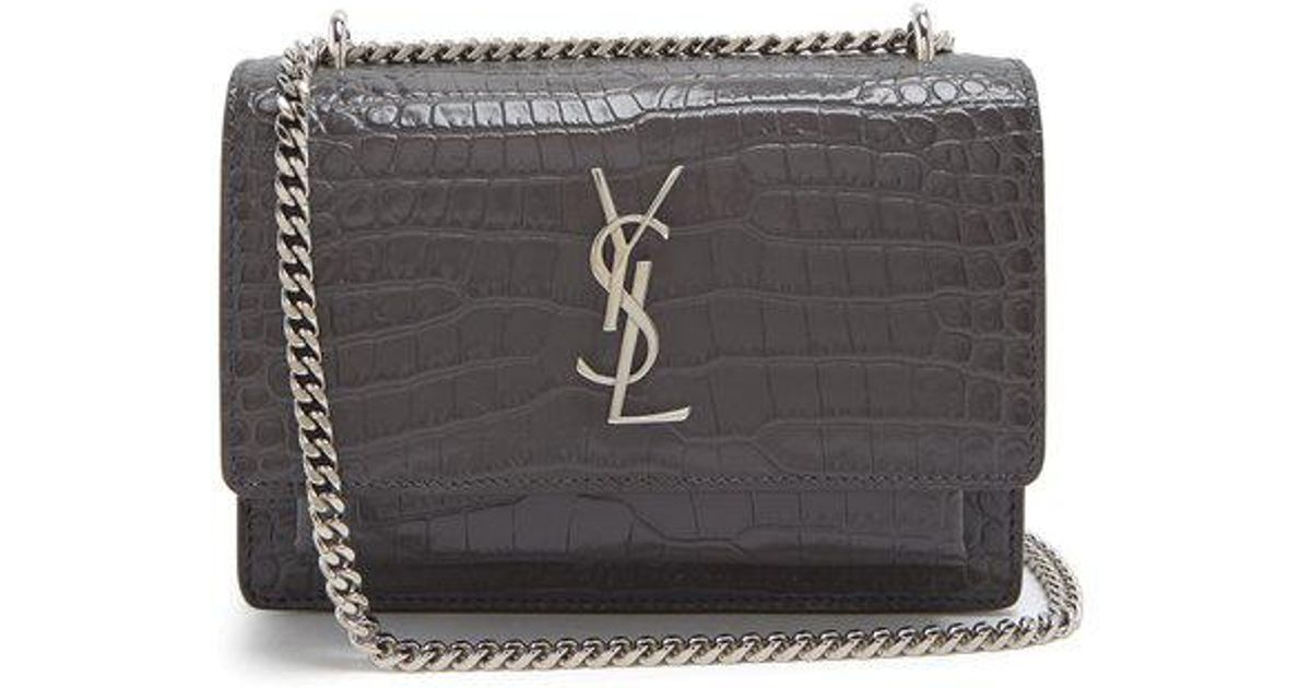 609186a741b8 Saint Laurent Sunset Crocodile-effect Leather Cross-body Bag in Gray - Lyst