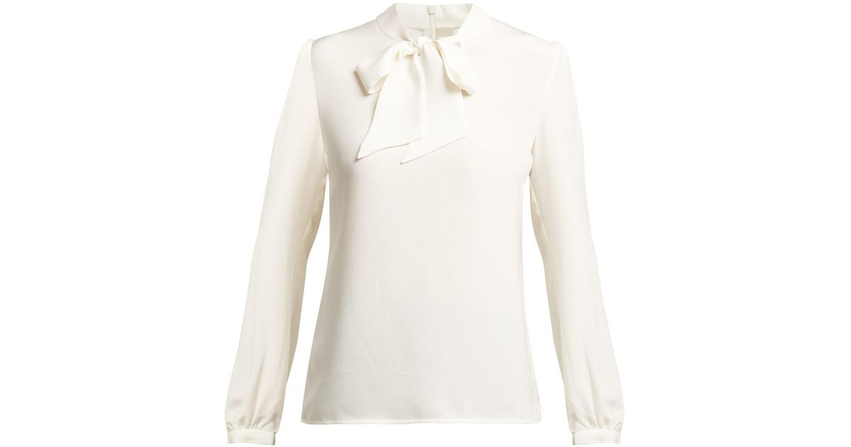 7309de1a9479bd Lyst - Goat Heart Pussy Bow Silk Blouse in Natural