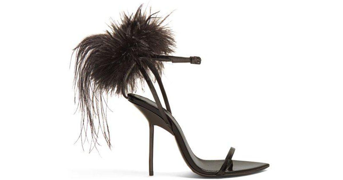 78d1eed479c3 Saint Laurent Mansour Feather-embellished Sandals in Black - Lyst