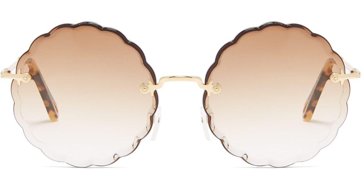 f8215a2765f Chloé Rosie Round-frame Sunglasses in Brown - Lyst