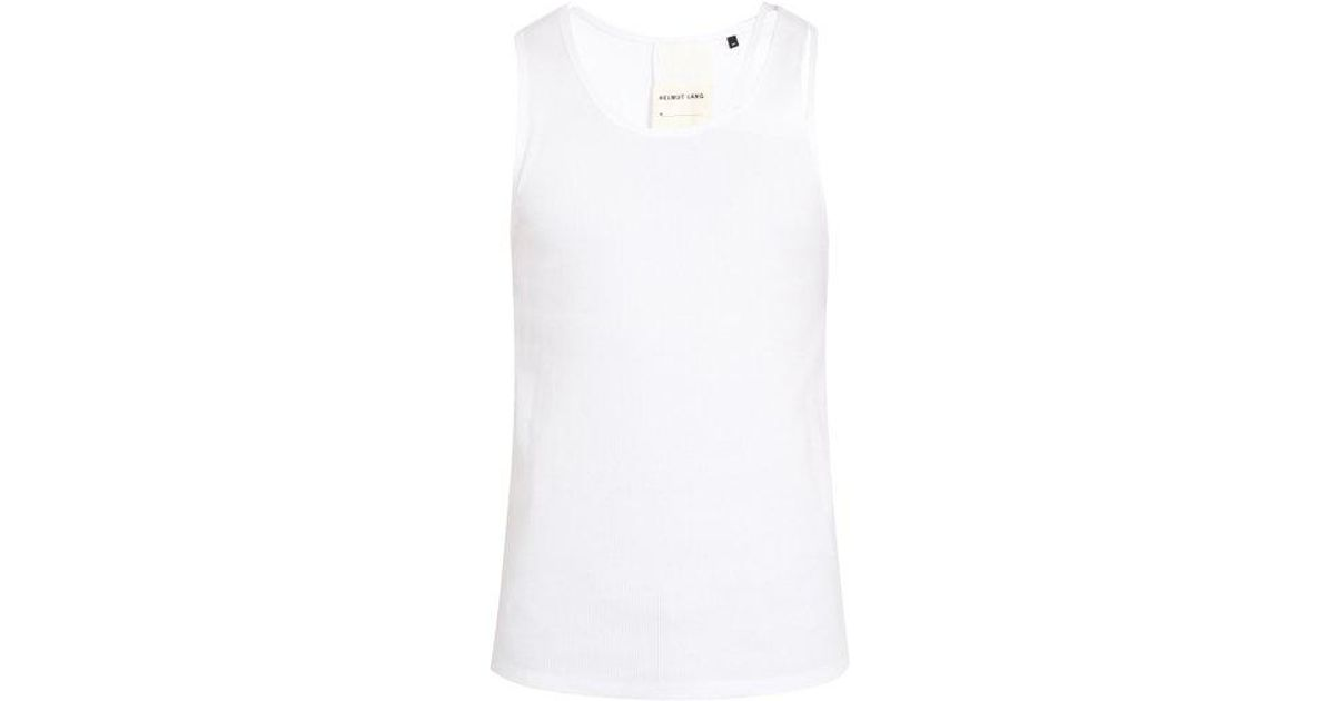 0208be6a9cbdc Lyst - Helmut Lang Reveal Ribbed Cotton-blend Knit Tank Top in White for Men
