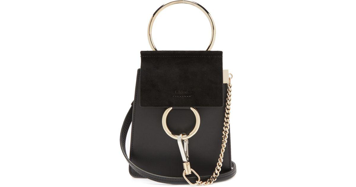 Lyst - Sac bandoulière en cuir et daim Faye mini Chloé en coloris Noir e8719c152ea