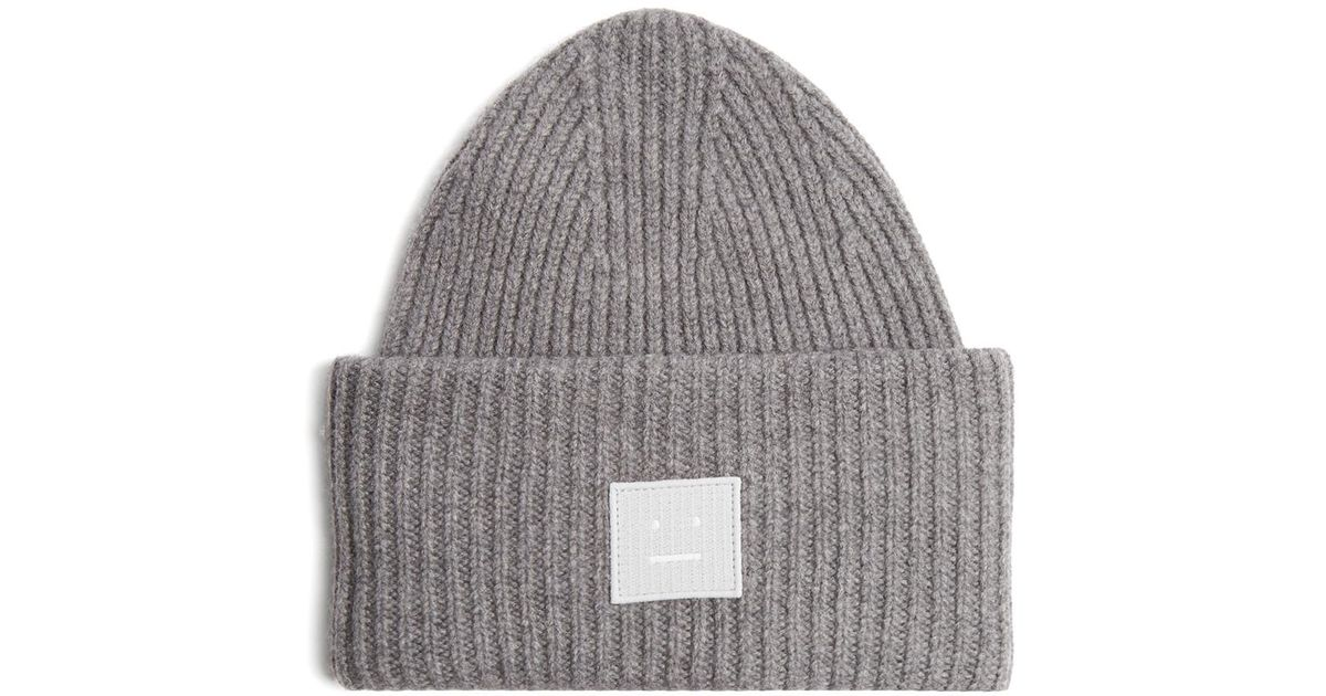 d0c78695a93 Acne Studios Pansy S Face Ribbed-knit Beanie Hat in Gray - Lyst