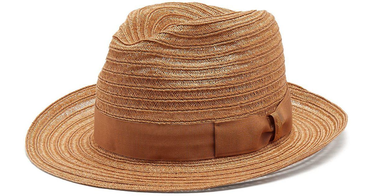 Lyst - Borsalino Ribbon Embellished Panama Hat in Brown for Men 6960ed871b84