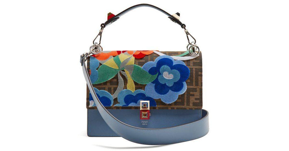 Fendi kan i flowerland appliqué leather shoulder bag in blue lyst
