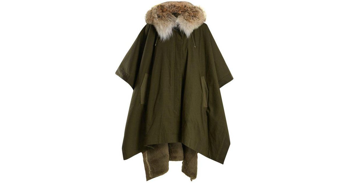 959245ecc027 Lyst - Army by Yves Salomon Fur-lined Hooded Cotton-canvas Cape in Green
