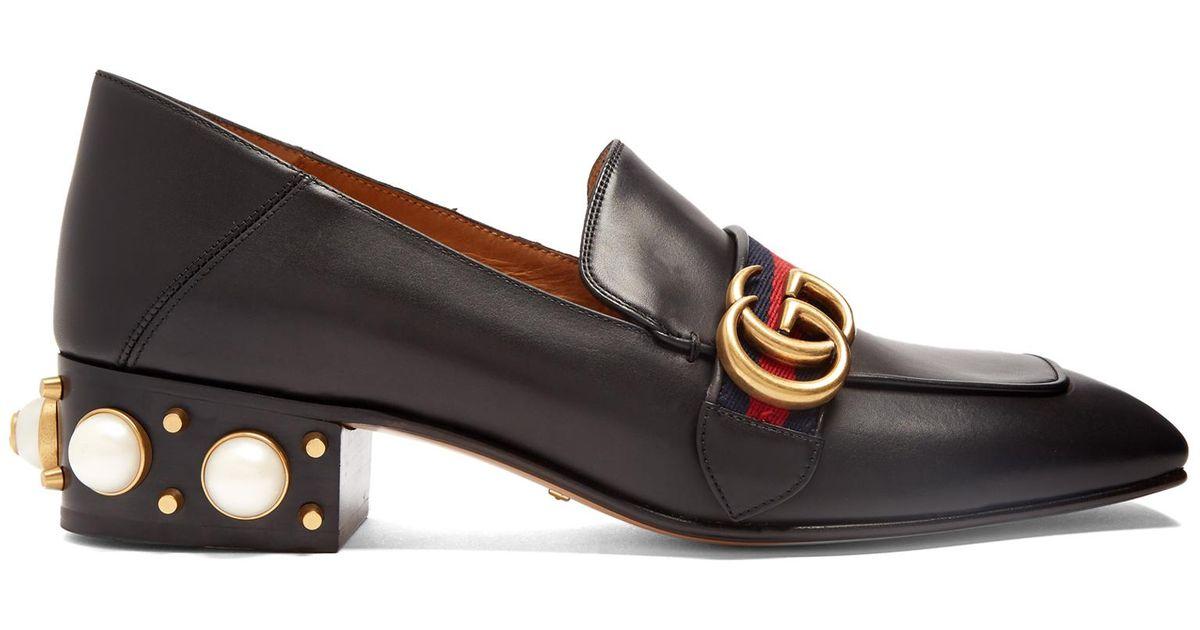 198547cfafa Gucci Peyton Faux-pearl Heel Leather Pumps in Black - Save 7% - Lyst