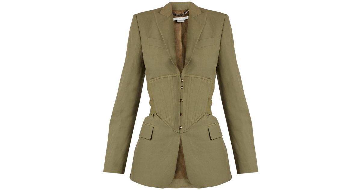 33e6cc28786 Lyst - Stella McCartney Peak-lapel Corset-panel Jacket
