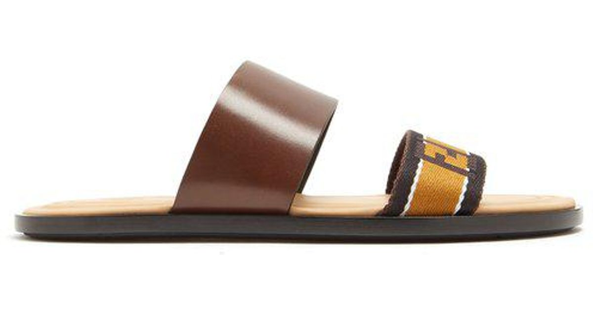 9c89bcb25a90 Lyst - Fendi Leather And Logo-jacquard Sandals in Brown for Men