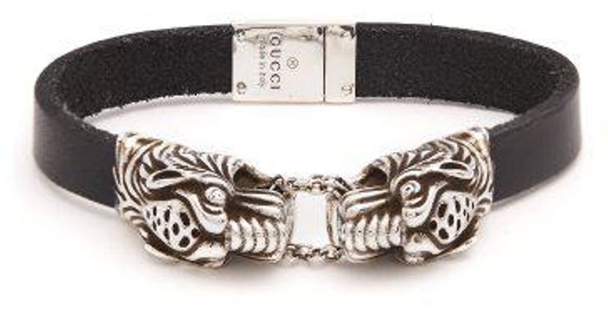 Gucci Tiger head leather bracelet 7vGOfpuE3