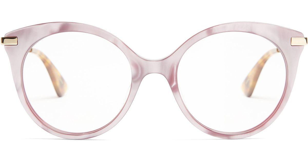 67593a63ff Lyst - Gucci Round-frame Mother-of-pearl Acetate Glasses in Pink