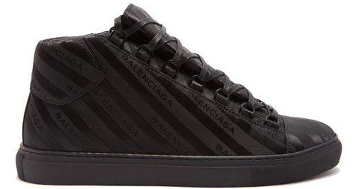 349c9a58ac1c Lyst - Balenciaga Arena Logo-jacquard High-top Trainers in Black for Men