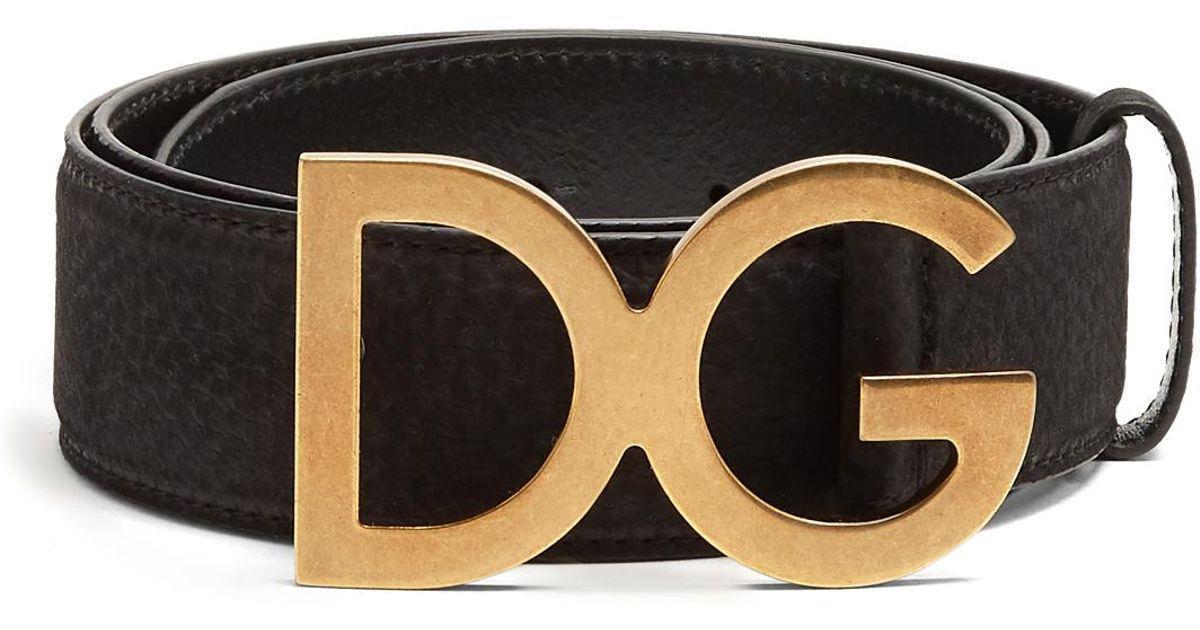 5197d7a8ab ... denmark lyst dolce gabbana dg buckle grained leather belt in black for  men 277e0 09a0b