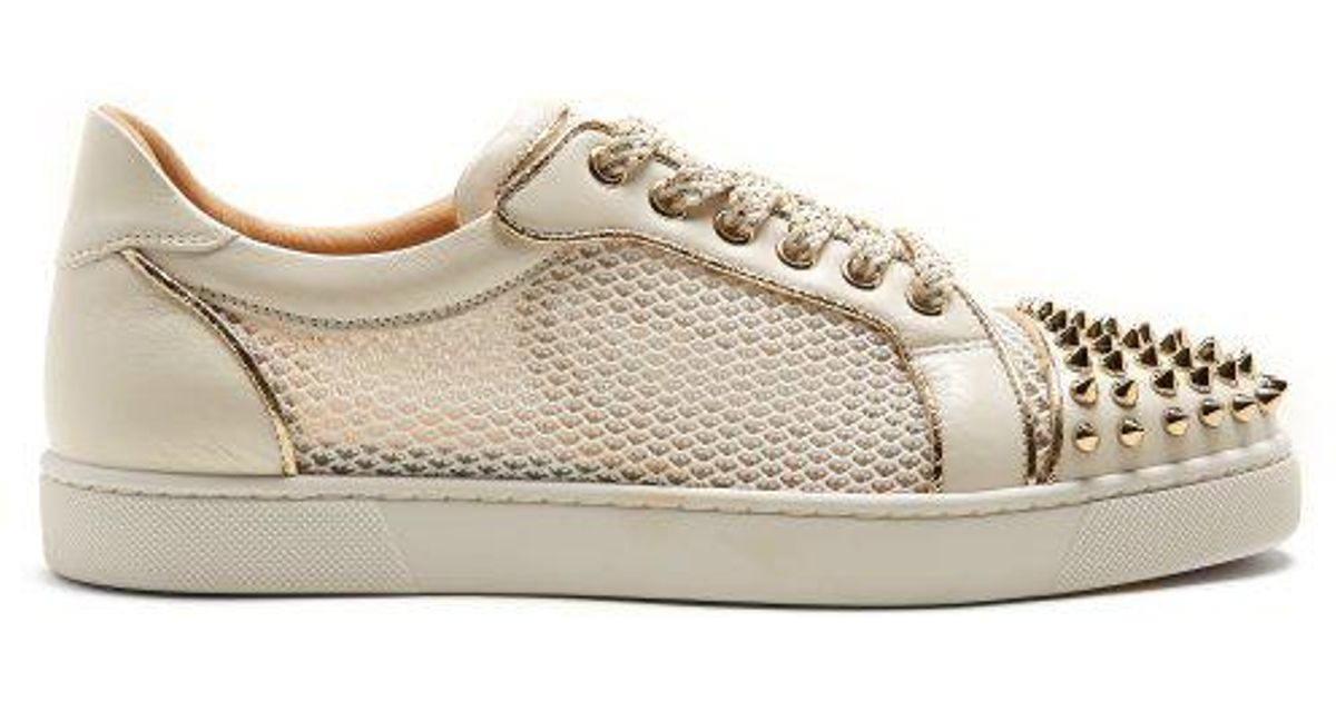 f40b9297e6e Christian Louboutin Ac Vieira Spike-embellished Leather Trainers in White -  Lyst