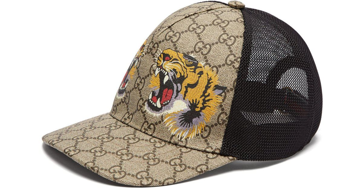 0767b1d98c05f Gucci Gg Supreme And Tiger Print Mesh Cap in Natural for Men - Lyst