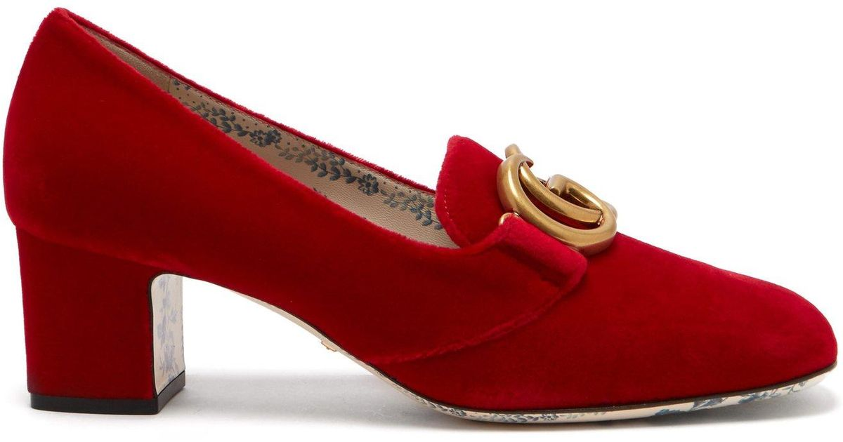 09ab7785a Lyst - Gucci Gg Velvet Pumps in Red