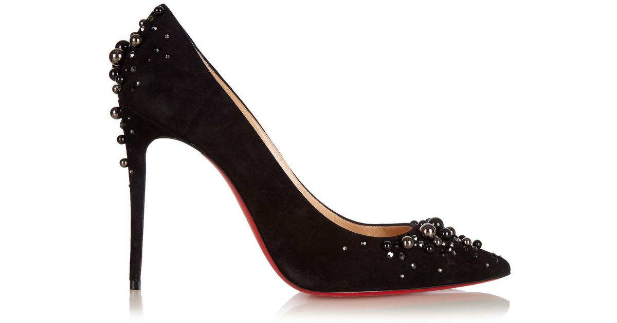 Candidate 100 black suede embellished pump Christian Louboutin KfNKZ
