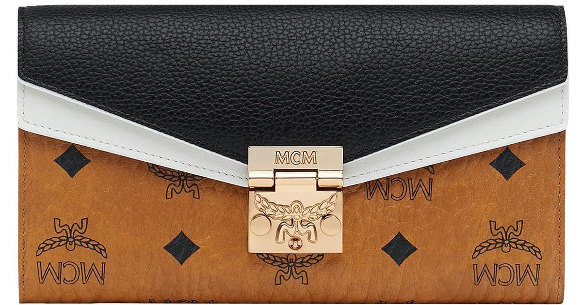 97876046712 MCM Patricia Crossbody Wallet In Visetos Leather Block in Black - Save 32%  - Lyst