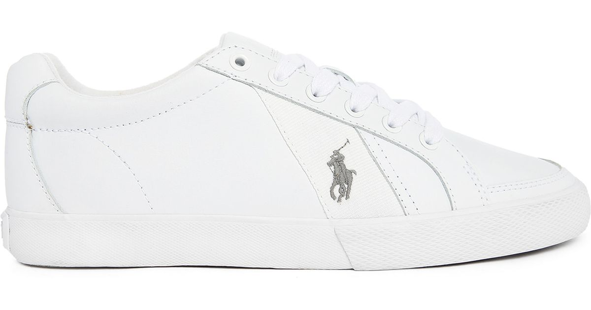 polo ralph hugh white leather sneakers in white for lyst